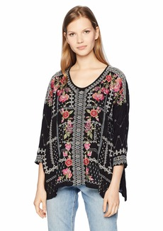 Johnny Was Women's 3/4 Sleeve Boxy Blouse with Multicolor Embroidery  L