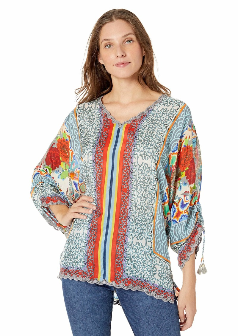 Johnny Was Women's Cropped Printed Silk Blouse  M