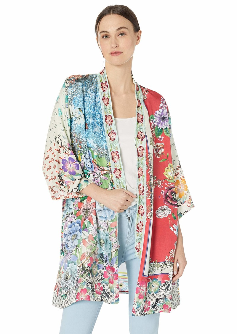 Johnny Was Women's Embroidered Trim Kimono  M