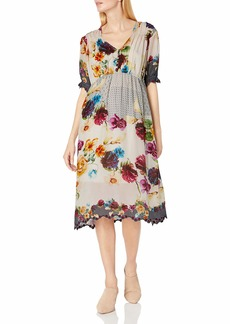 Johnny Was Women's Floral Printed midi Dress  M