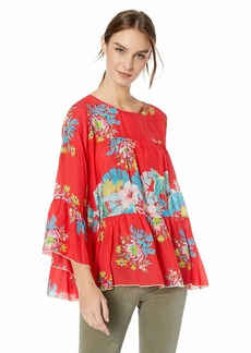 Johnny Was Women's Flowy Crewneck Rayon Blouse  L