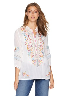 Johnny Was Women's Henley-Style Blouse with Multicolor Embroidery  S