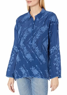 Johnny Was Women's Long Sleeve Blouse with Tonal Embroidery  XS