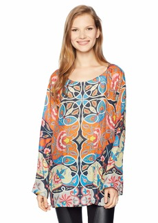 Johnny Was Women's Long Sleeve Boatneck Scarf Printed Top  M