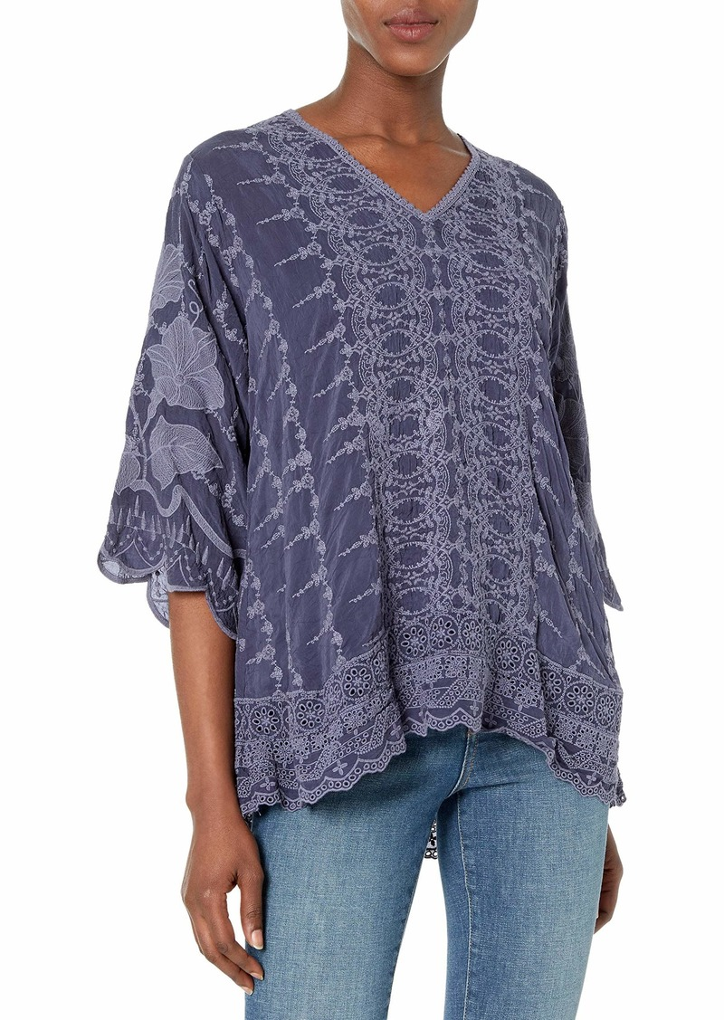 Johnny Was Women's Long Sleeve Tonal Embroidered Blouse  S