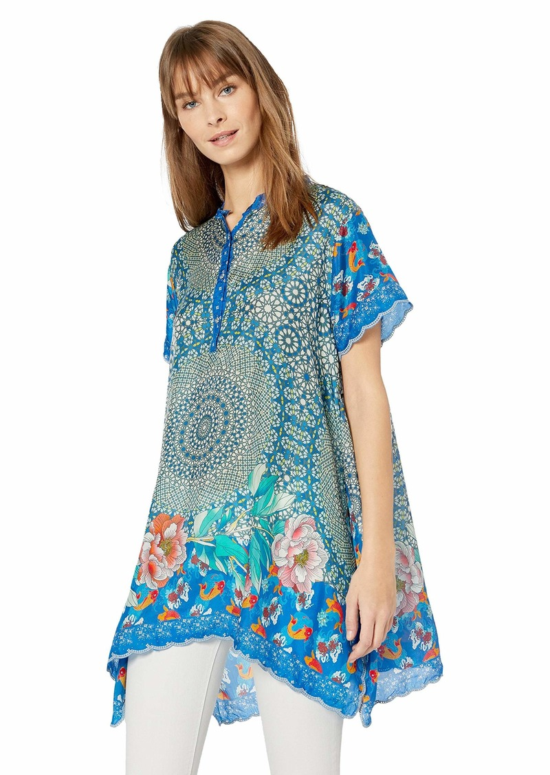 Johnny Was Women's Mandarin Collar Scarf Printed Blouse with Uneven Hem  M