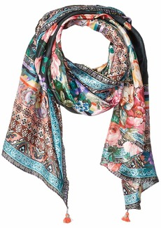 Johnny Was Women's Patterned Silk Rectangle Scarf with Tassels black