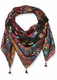 Johnny Was Women's Patterned Silk Rectangle Scarf with Tassels  O/S