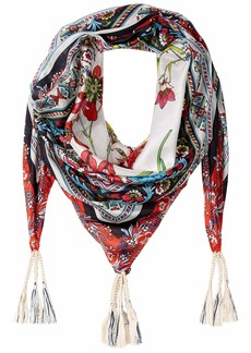 Johnny Was Women's Patterned Silk Square Scarf with Tassels  O/S