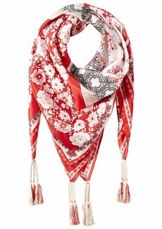 Johnny Was Women's Patterned Silk Square Scarf with Tassels red/multi O/S