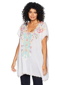 Johnny Was Women's Plus Size Cap Sleeve Multicolor Embroidered Rayon Tunic