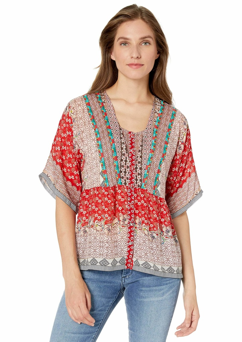 Johnny Was Women's Printed Flowy Button Down Blouse  XXL