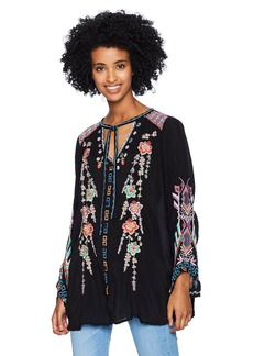 Johnny Was Women's Rayon Tie Neck 3/4 Sleeve Relaxed Embroidered Blouse  XS
