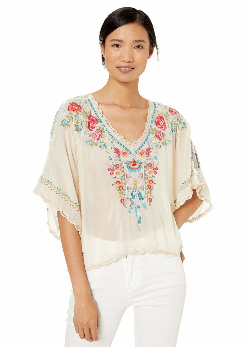 Johnny Was Women's Scarf Back Cropped Blouse with Embroidery  S