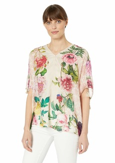 Johnny Was Women's Scarf Printed Relaxed top with Ruched Sleeves  S
