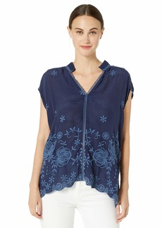 Johnny Was Women's Split Neck Collar Blouse with Embroidery  S
