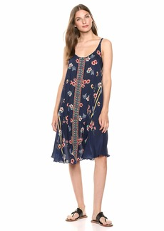 Johnny Was Women's Tank Dress with Embroidered Trim Multi A A L