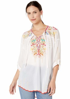 Johnny Was Women's Tie Neck Boho Blouse with Embroidery  S