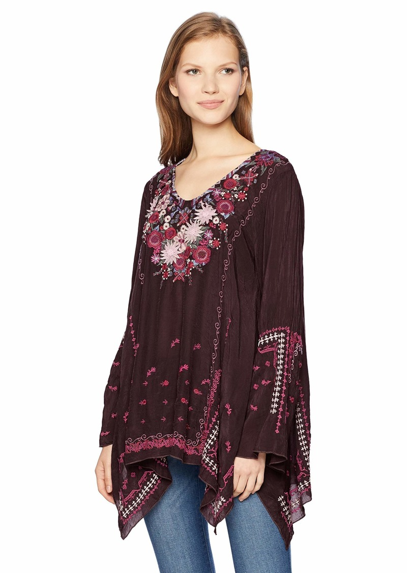 Johnny Was Women's V-Neck Bell Sleeve Blouse with Applique  S