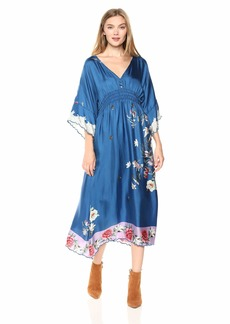 Johnny Was Women's V-Neck Bell Sleeve Pieced Scarf Dress  L
