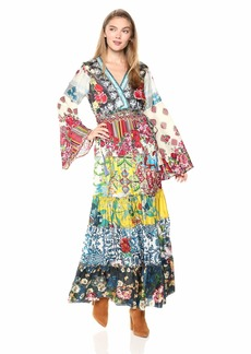 Johnny Was Women's V-Neck Bell Sleeve Pieced Scarf Dress  M