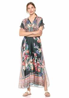 Johnny Was Women's V-Neck Patterned Midi Dress  M