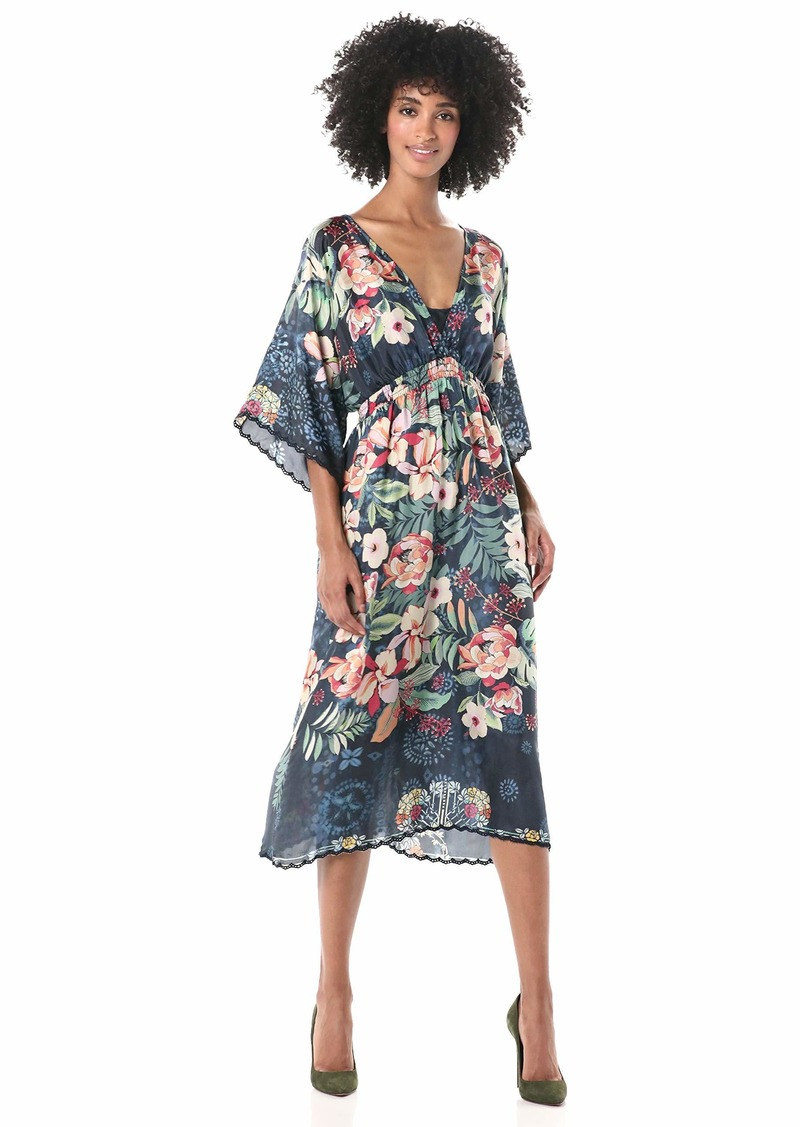 Johnny Was Women's V Neck Silk Floral Dress with Slip  M