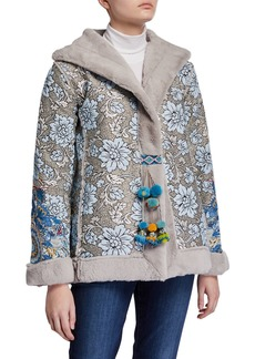 Johnny Was Kaya Floral Jacquard & Faux Fur Coat with Pompoms