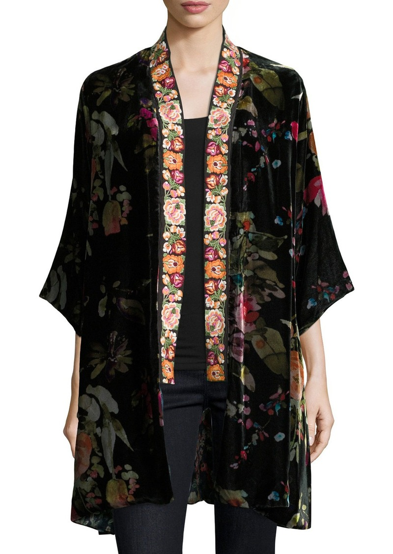Johnny Was Kehlani Reversible Velvet Kimono W/ Embroidery Trim