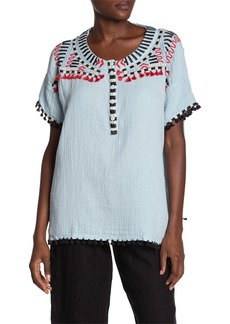 Johnny Was Kitti Embroidered Tassel Trim Blouse