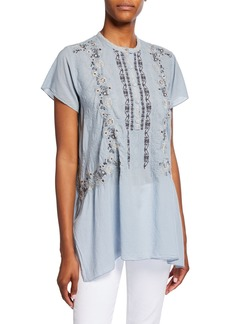 Johnny Was Kones Short-Sleeve Georgette Tunic