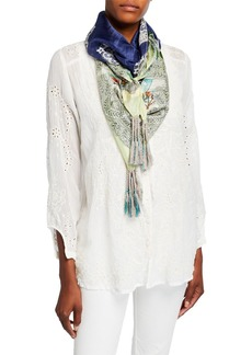 Johnny Was Lace Floral Silk Scarf