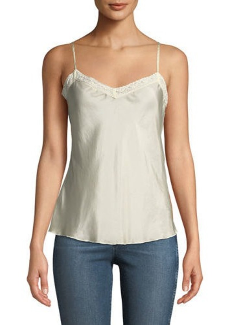 Johnny Was Lace-Trim Silk Camisole Tank