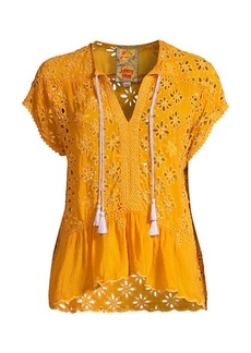 Johnny Was Leith Floral Lacey Eyelet Top