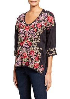 Johnny Was Leopard Rose Embroidered 3/4-Sleeve Blouse