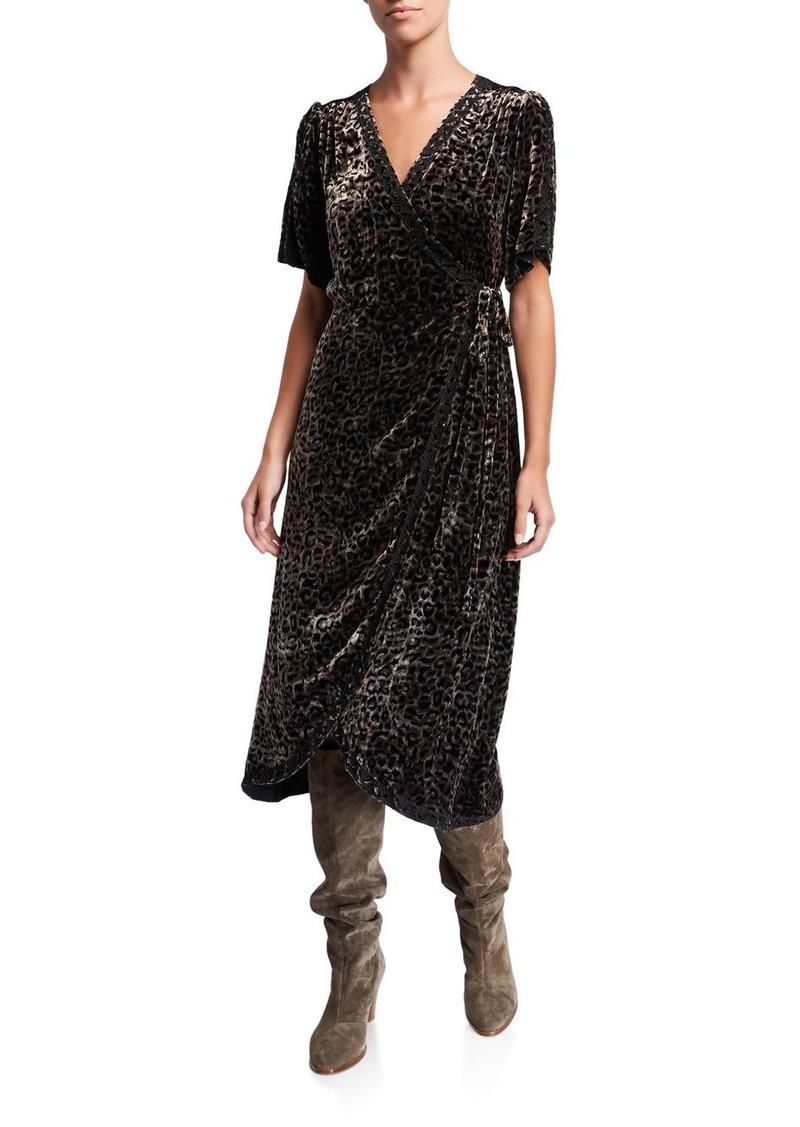 Johnny Was Leopard Velvet Short-Sleeve Wrap Dress