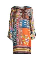 Johnny Was Luna Floral Mix-Print Silk Shift Dress