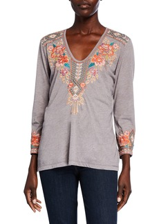 Johnny Was Maeve Embroidered V-Neck 3/4-Sleeve Tee