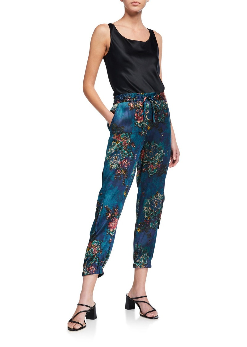 Johnny Was Marcelle Floral-Print Stretch Silk Pants