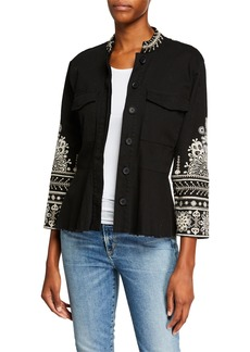 Johnny Was Marik Button-Front Peplum Military Jacket