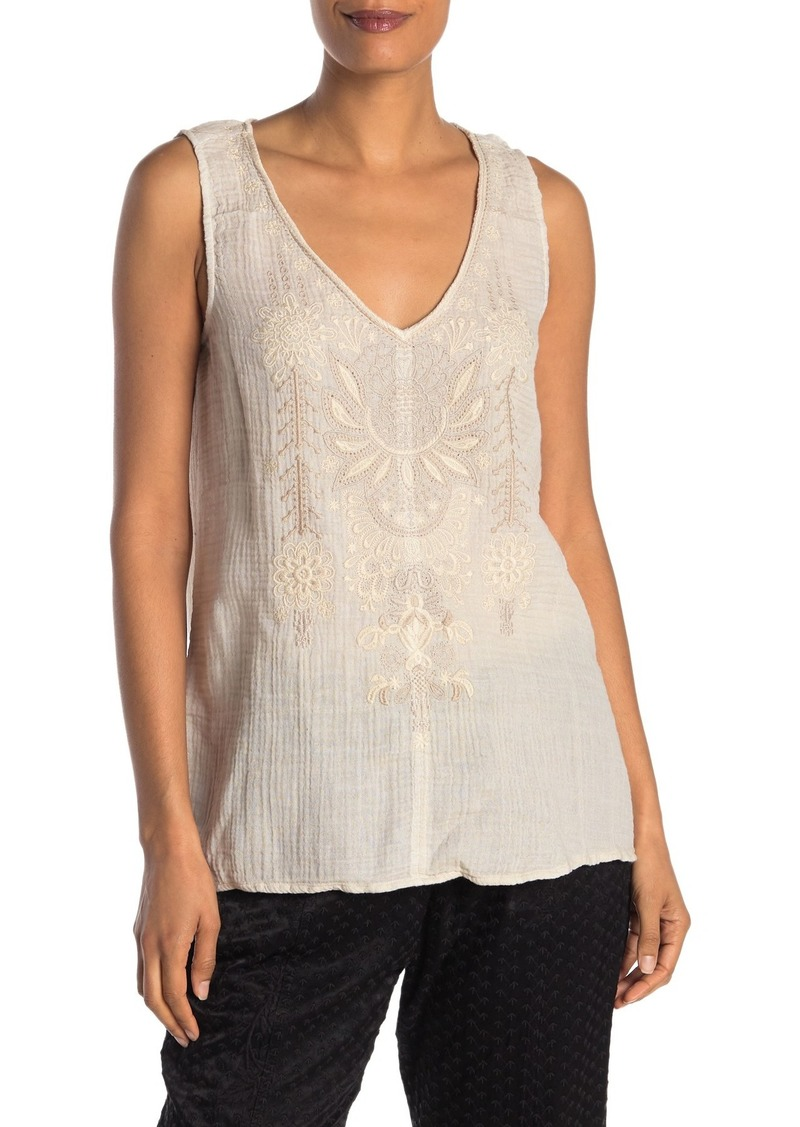 Johnny Was Marik Embroidered V-Neck Tank Top
