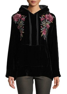 65ce84edc576e Johnny Was Marmont Floral-Embroidered Velvet Hoodie