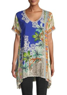 Johnny Was Marron Lace-Trim Printed Tunic