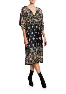 Johnny Was Mayann V-Neck Short-Sleeve Midi Silk Dress