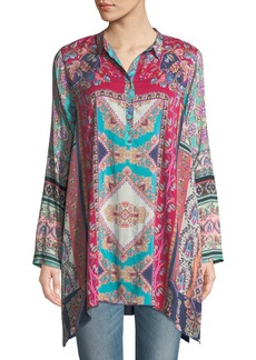Johnny Was Meco Print Collared Tunic