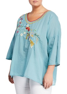 Johnny Was Merielle 3/4-Sleeve Floral-Embroidered Voile Top  Plus Size