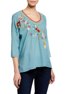 Johnny Was Merielle Floral-Embroidered Cotton Blouse