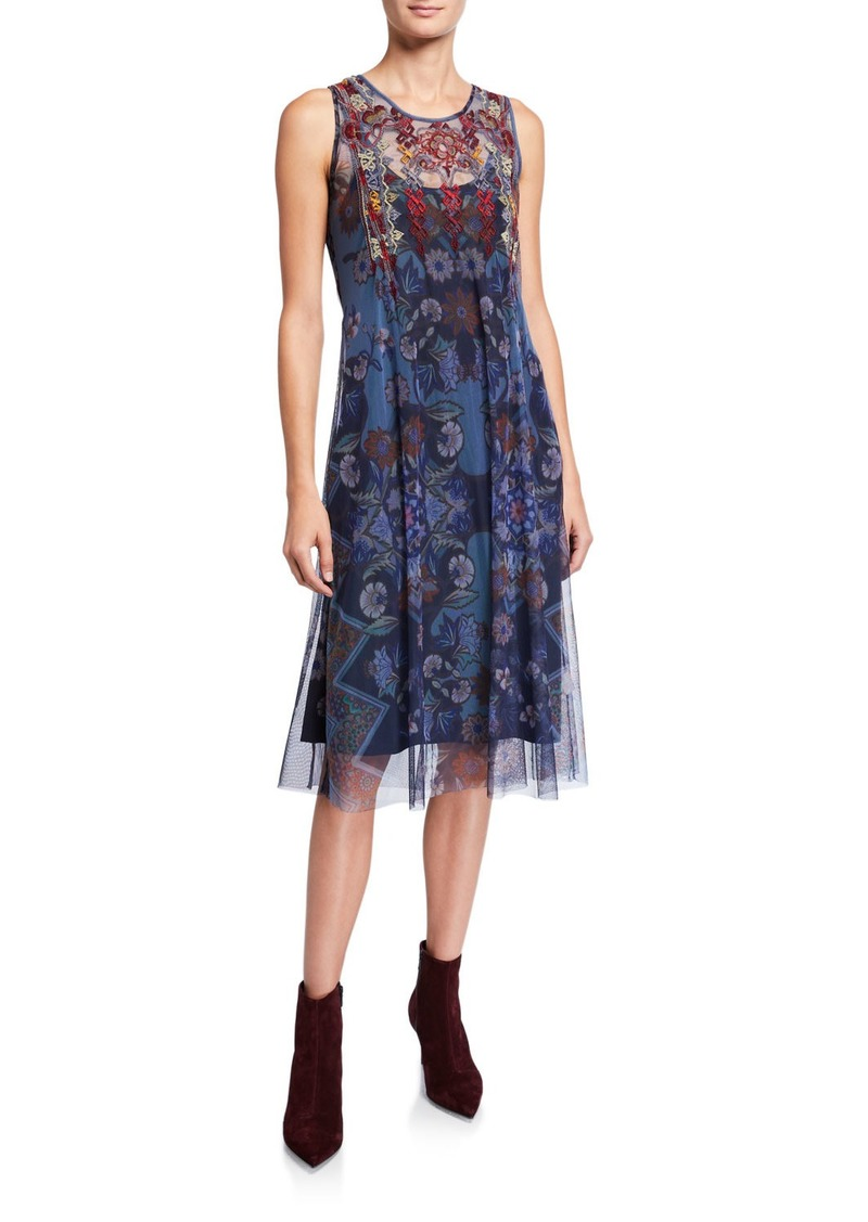 Johnny Was Mihanay Floral Sleeveless Long Mesh Midi Dress