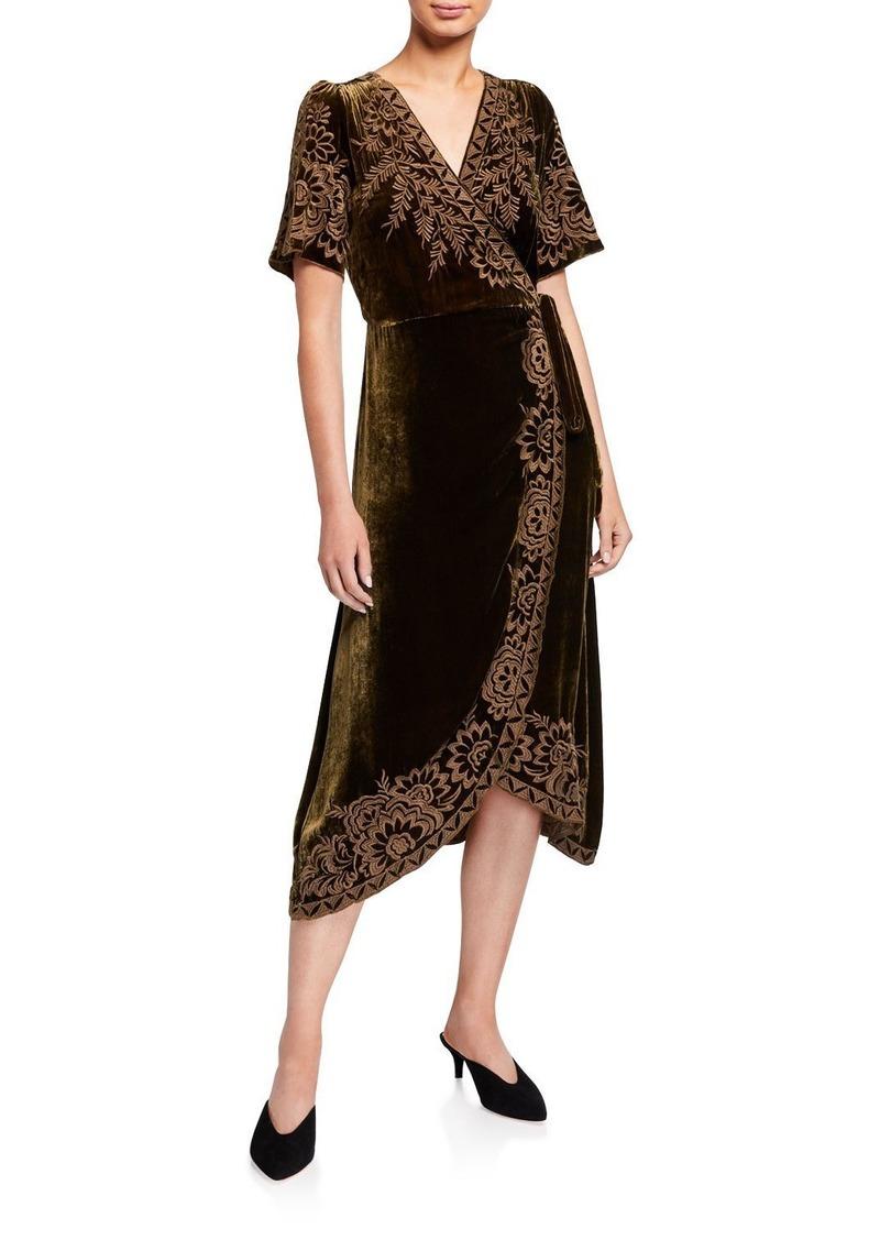 Johnny Was Mina Velvet Short-Sleeve Wrap Dress