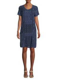 Johnny Was Mixed Berry Georgette Short-Sleeve Shift Dress